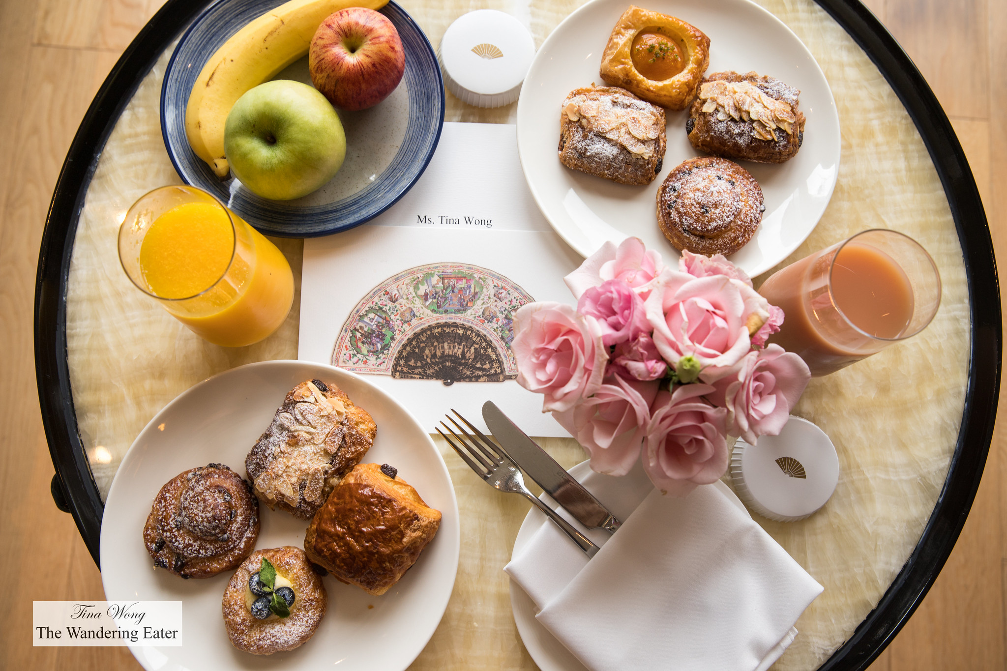 Breakfast pastries and juices at my room